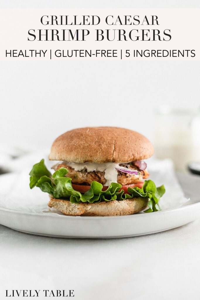 pinterest image with text for healthy grilled shrimp burgers.