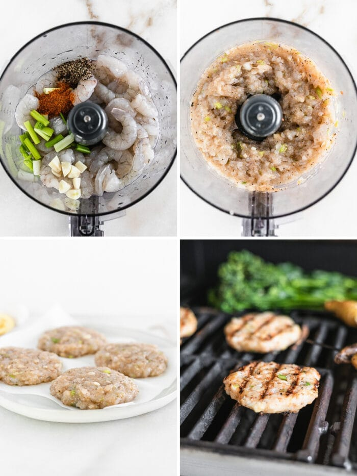 four image collage showing steps to making grilled shrimp burger patties in a food processor and on the grill.