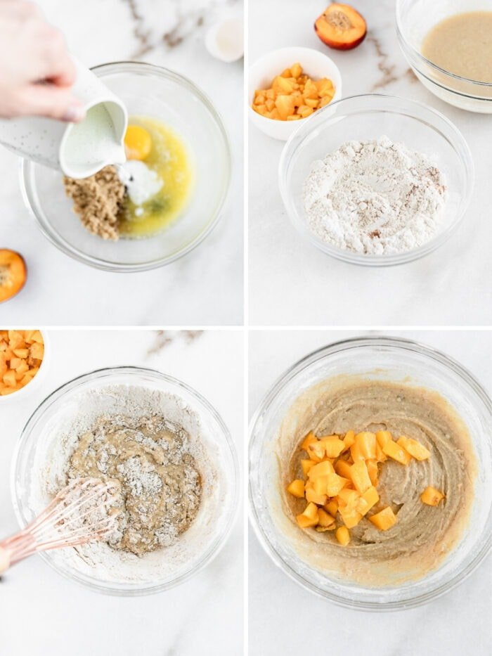 collage of four images showing steps for mixing peach donut batter.