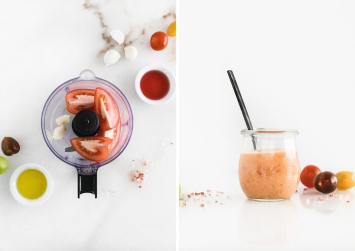 two side by side images showing the ingredients for tomato vinaigrette in the bowl of a food processor, then the finished dressing in a glass jar with a black spoon.