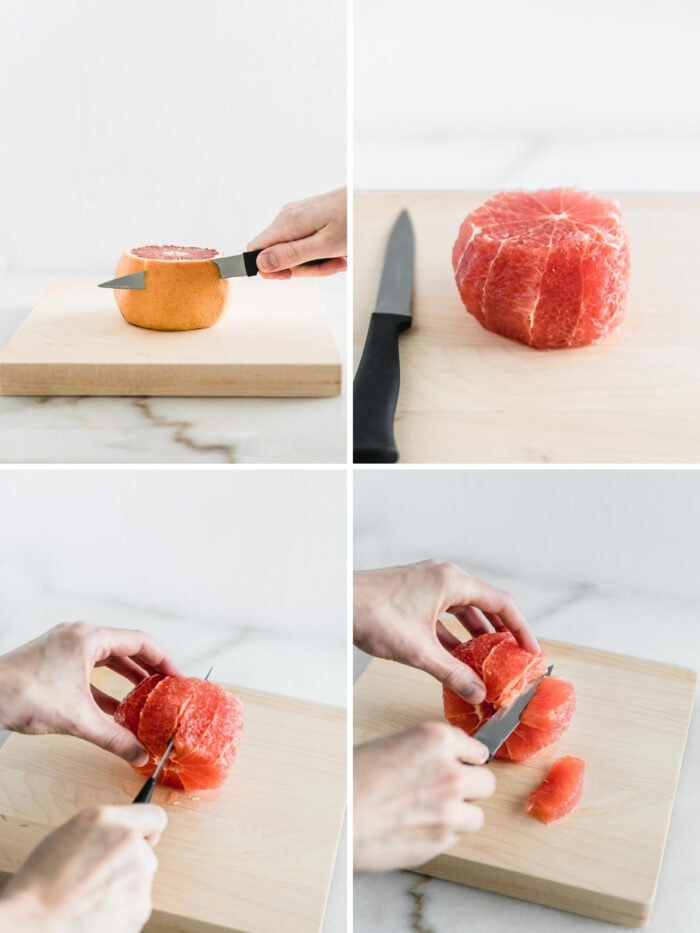 four images showing steps to segment a grapefruit.