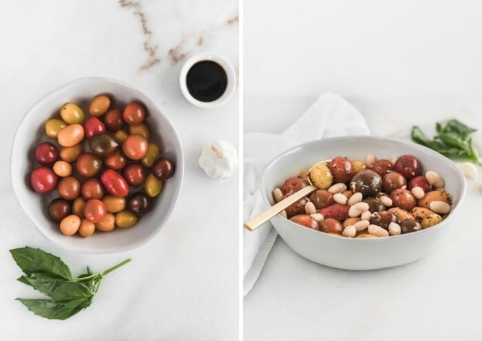two images of multicolored cherry toamtoes in a bowl with basil leaves, garlic and balsamic vinegar around the bowl, and the tomatoes mixed with white beans, basil, chopped garlic and balsamic.