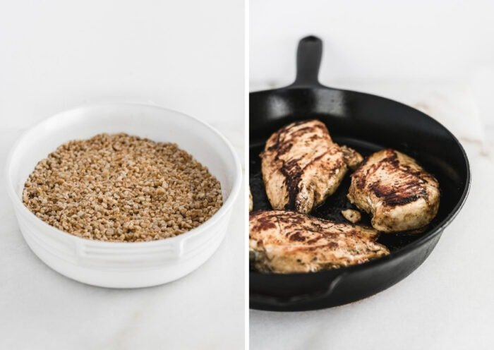 side by side images of farro in a baking dish and chicken breasts being seared in a skillet.