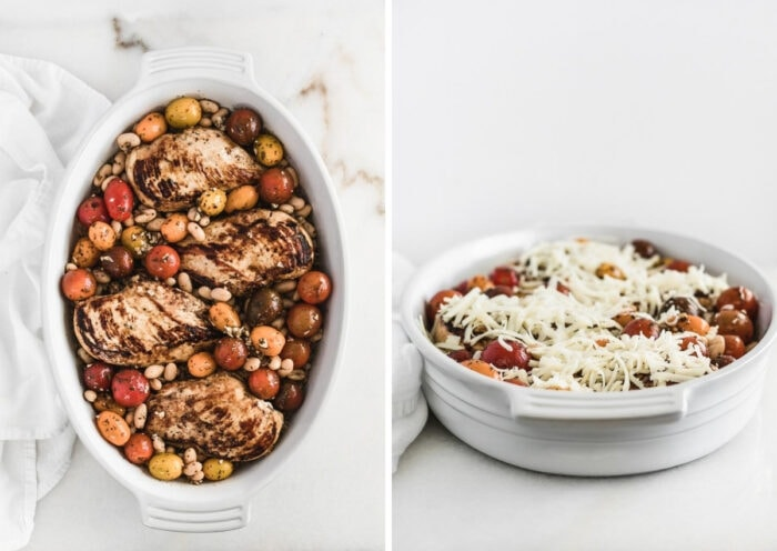 two images of chicken and tomatoes on top of farro in a baking dish, and the unbaked dish covered with cheese.