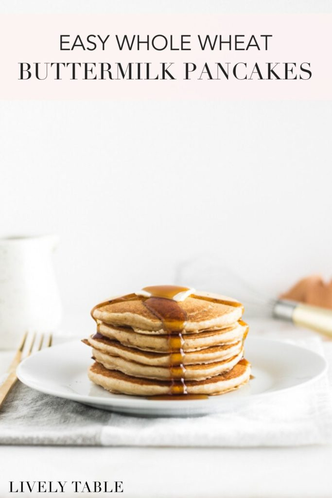 pinterest image for whole wheat buttermilk pancakes.