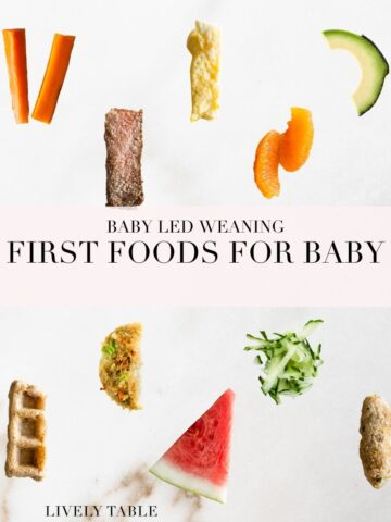 image with text for first foods for baby led weaning with images of various finger foods on a white background.