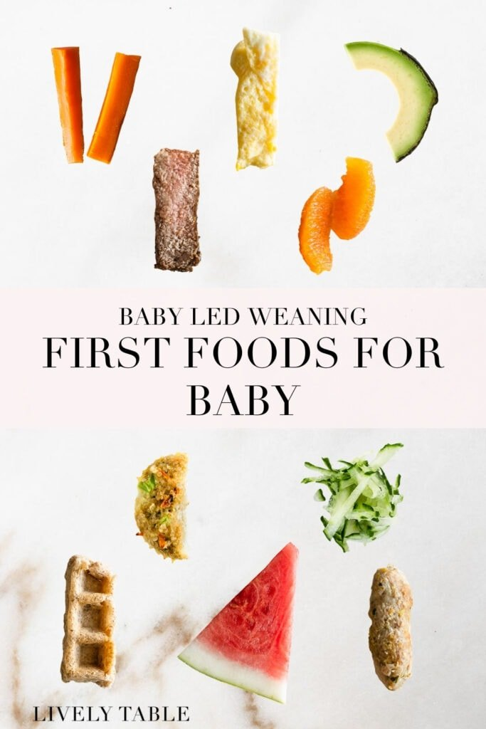 pinterest image with text for first foods for baby led weaning with images of various finger foods on a white background.