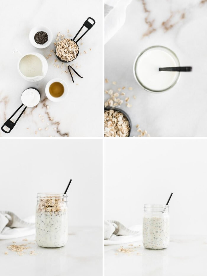 four image collage showing steps to making buttermilk overnight oats in a glass jar.