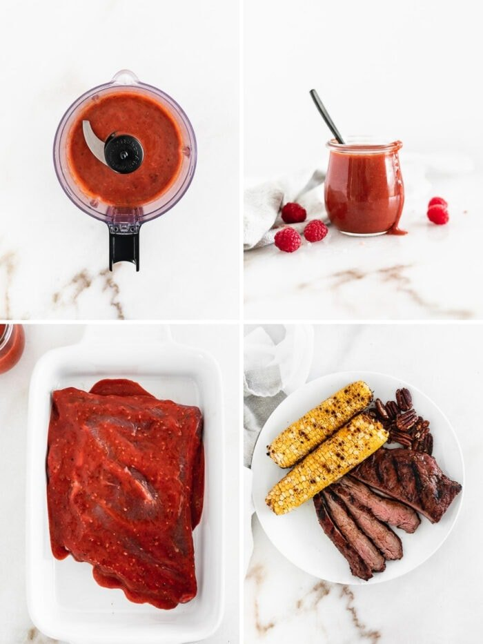 four image collage showing steps to making raspberry chipotle marinated flank steak.