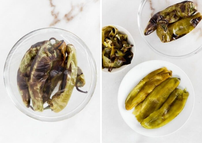 two side by side images of roasted hatch chiles in a glass bowl covered with plastic wrap, and peeled roasted chiles on a white plate with the skins in a bowl and unpeeled chiles in another bowl.