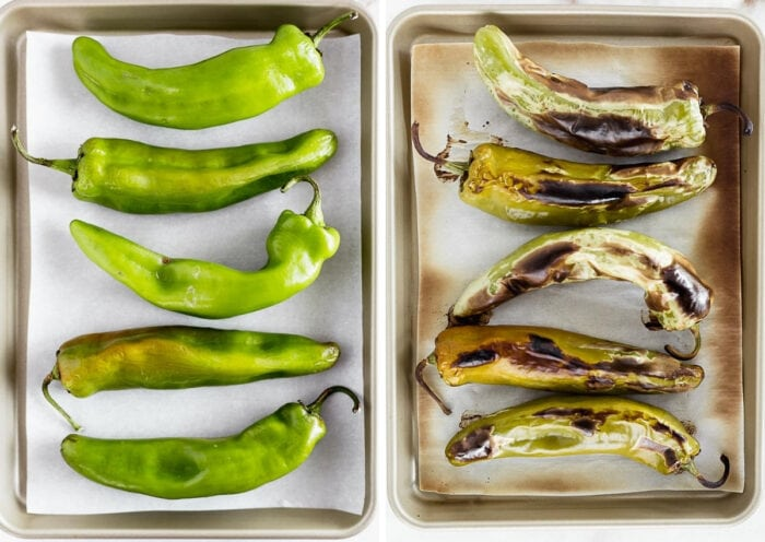 two side by side images of fresh hatch chiles on a sheet pan and roasted hatch chiles on a sheet pan.