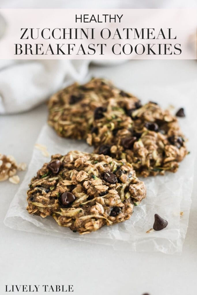 pinterest image with text for zucchini oatmeal breakfast cookies.