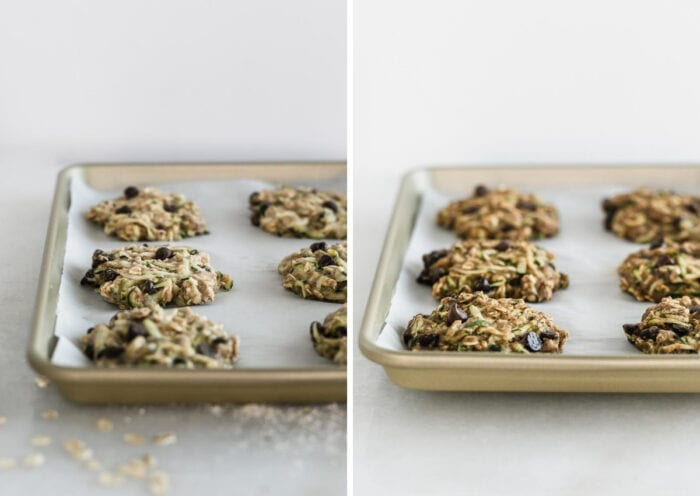 side by side images showing zucchini oatmeal cookies on a baking sheet before and after baking.