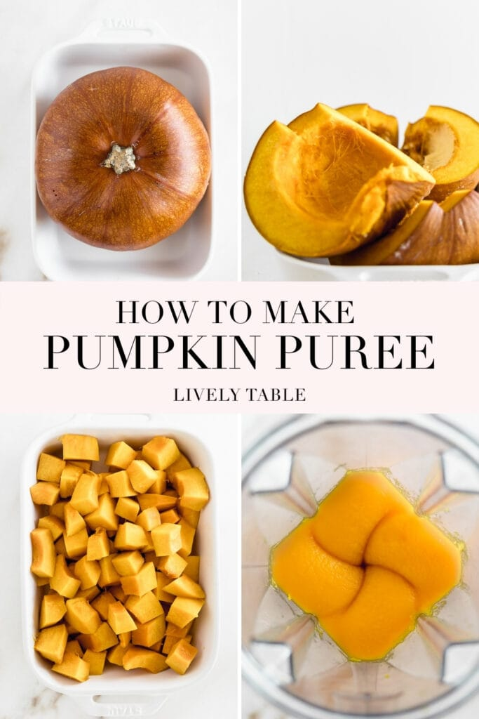 four image collage with text showing steps to making pumpkin puree form a roasted pumpkin.