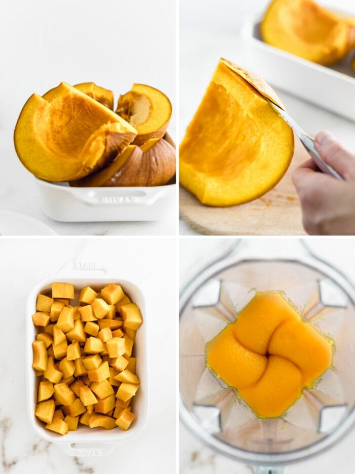 four image collage shwoing steps to making pumpkin puree with a whole roasted pumpkin.