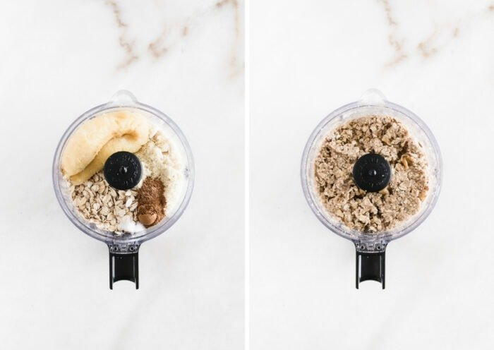 two images of banana bread ball ingredients in a food processor and the ingredients blended together.