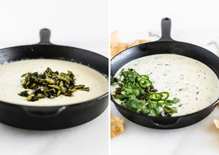 two images showing diced poblano peppers on top of queso blanco in a skillet and the finished queso in a skillet.