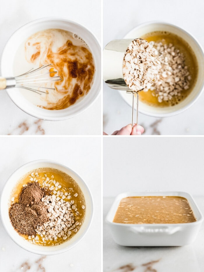four image collage showing steps to making pumpkin baked oatmeal.