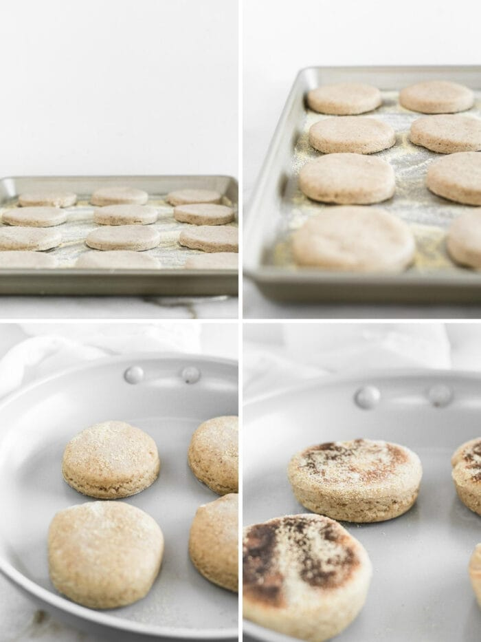 four image collage showing sourdough english muffins cut on a tray, rising, and being cooked in a skillet.
