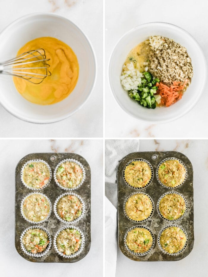 four image collage showing steps for making veggie egg muffins.