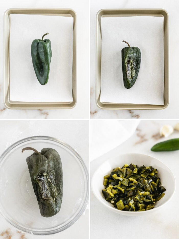 four image collage showing steps for roasting poblano peppers.
