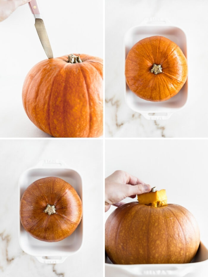 four image collage showing steps to roasting a whole pumpkin.