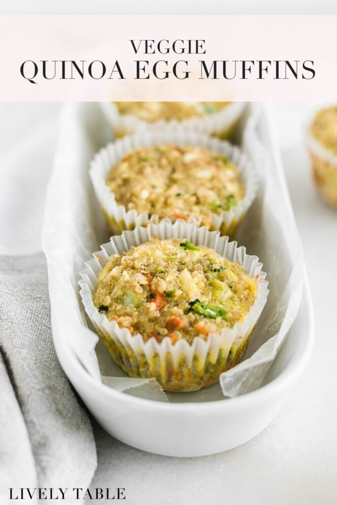 pinterest image with text for healthy veggie quinoa egg muffins.