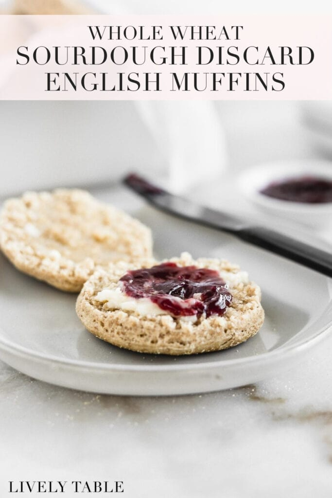 pinterest image with text for whole wheat sourdough discard english muffins.