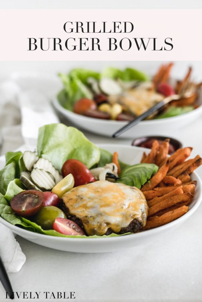 pinterest image with text for grilled burger bowls.
