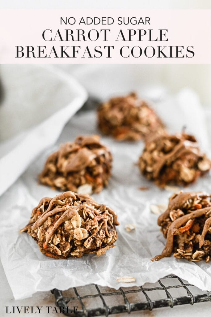 pinterest image for carrot apple oatmeal breakfast cookies.