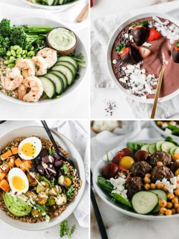 collage image of 8 healthy bowl recipes.