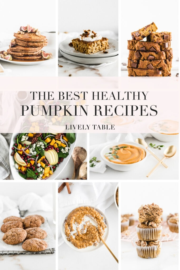collage image with text of 8 healthy pumpkin recipes.