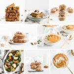 collage image of 8 healthy pumpkin recipes.