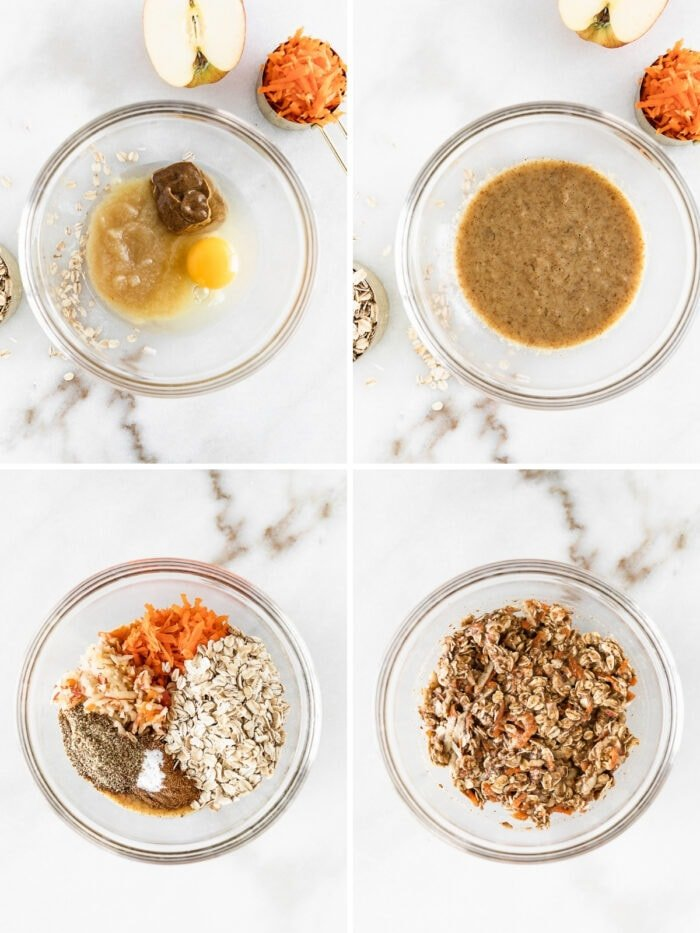 four image collage showing steps to mixing breakfast cookie dough in a glass bowl.