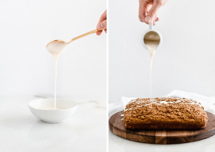 two side by side images showing a spoon lifting icing out of a bowl and a hand pour icing over coffee cake.