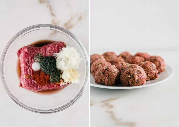 side by side images of steps to making mediterranean meatballs.