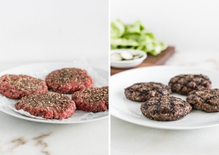 side by side images of beef burger patties on a white plate and finished grilled burger patties on a plate.