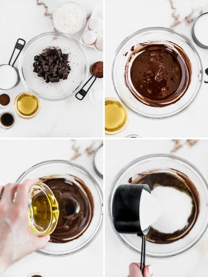 four image collage showing steps to making olive oil brownie batter.