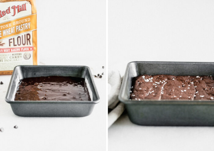 two side by side images showing brownies in a pan before and after baking.