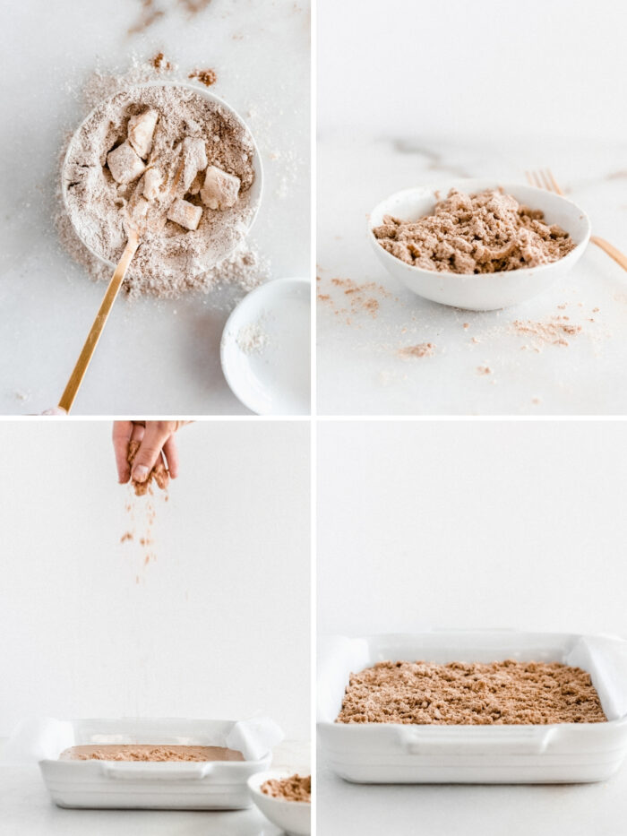 four image collage showing how to make streusel topping for coffee cake.