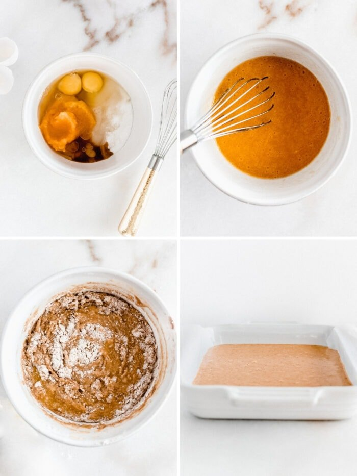 four image collage showing steps to making pumpkin coffee cake batter.