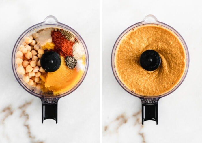 side by side images showing ingredients for pumpkin hummus in a food processor, and the blended hummus.