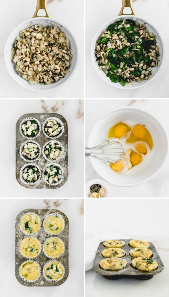 siz image collage showing steps to making mushroom spinach egg muffins.