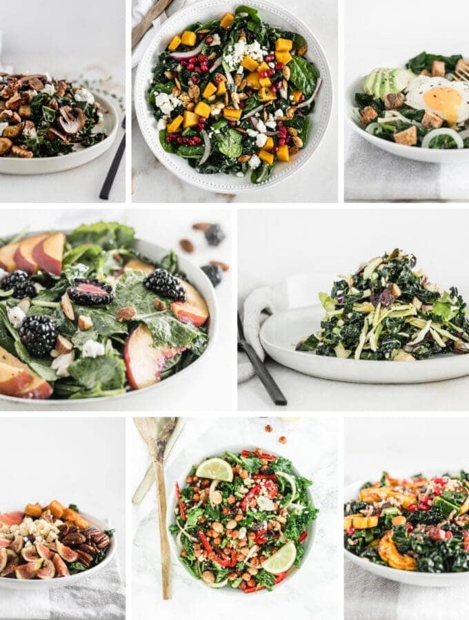 collage image with 8 kale salad recipes.