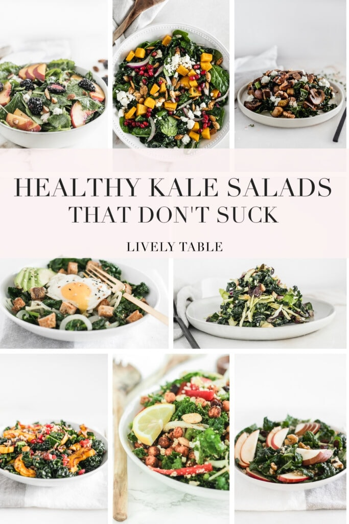 pinterest image with text for kale salads that don't suck.