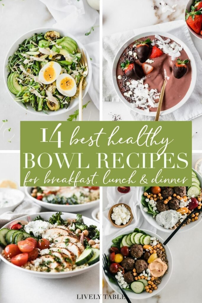 collage pinterest image with text for the best healthy bowl meals.