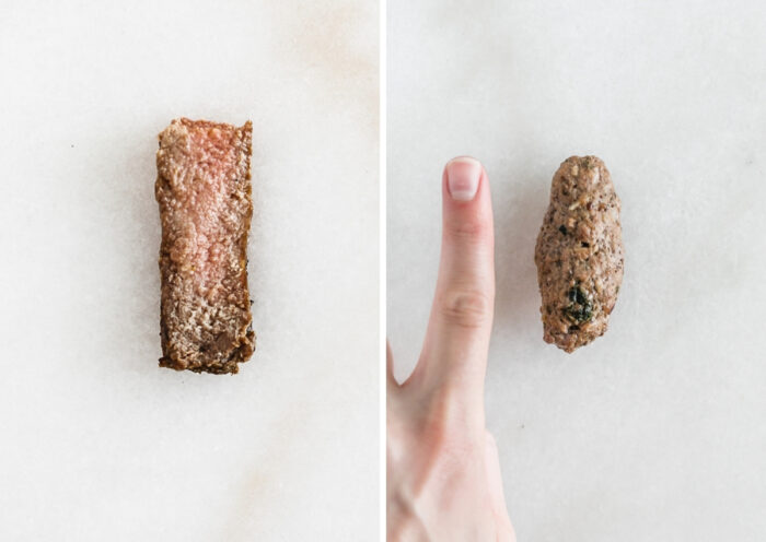 side by side images of a strip of steak and a beef meatball next to a finger.