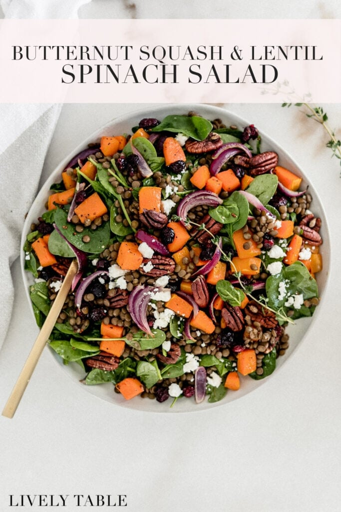 pinterest image with text for butternut squash lentil spinach salad.