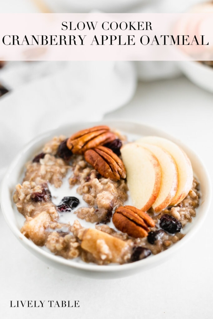 pinterest image with text for slow cooker apple cranberry overnight oatmeal.