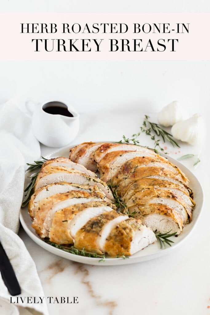 pinterest image with text for herb roasted bone in turkey breast.